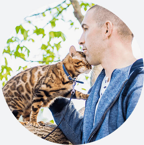bengal cat and owner